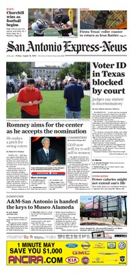 San Antonio Express-News, August 31, 2012